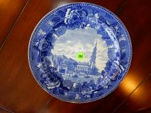 Antique blue and white Wedgwood plate with Park Street Church Boston