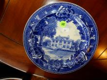Antique blue and white Wedgwood plate with Longfellow's House
