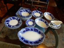 Collection of flow blue china