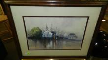 7) Signed litho by Paul Landry, 17/550, rainy harbor scene