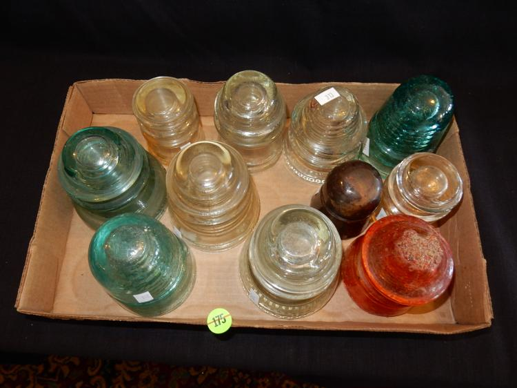 Group of vintage telephone pole glass insulators for Vintage glass telephone pole insulators