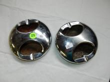 2 piece deco chrome boat? ashtrays green and red base