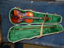 Vintage violin with bow, in case, as found