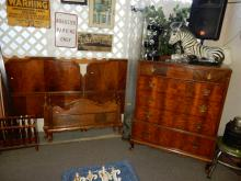 3 Piece vintage bedroom set with highboy dresser and 2 matching beds, dresser top needs TLC. Special shipping required