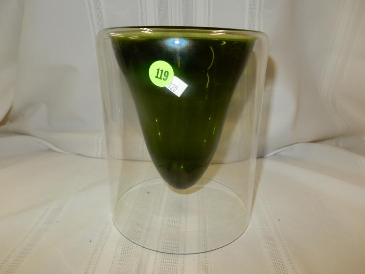 Cone Shaped Glass Vase: Unique Mid Century Modern Signed Glass Vase, With Green Cone