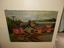Original A&C era oil painting on canvas, depicting train work yard, marked N. Arnova on back (unframed)
