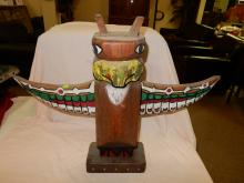 Signed Native American hand carved and painted totem pole, by Terry Jones La Push Wa,