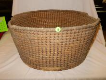 Early Native American hand woven basket with added wood support base, as found,