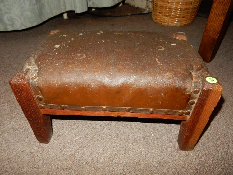 Antique Oak A C Leather Top Foot Stool Shows Paint Spots