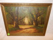 Nice antique oil painting depicting trees and dirt path, signed Salgo, period / original frame