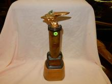 Original indio locker plant trophy 5th annual salton sea winter annual championship, speed boat trophy 1945, as seen