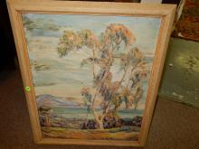 Vintage oil painting on board, depicting trees