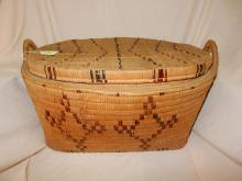 Large Antique Native American hand woven Thompson River lidded basket