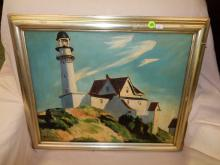 Lovely oil painting, depicting lighthouse, signed D. Holmwood