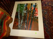 Unframed / matted oil painting depicting trees? signed LR