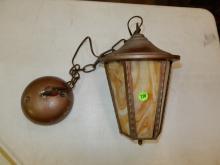 A&C slag glass hanging porch light, locking tab broken, glass is loose