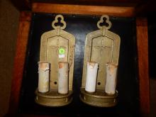 2 piece A&C metal candle style electric wall sconces