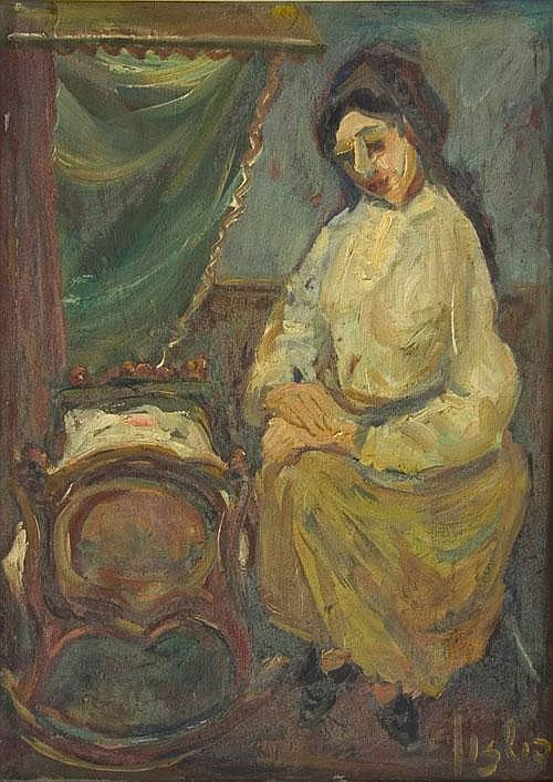 Woman and Baby, Moshe Fishzon, Oil on canvas,
