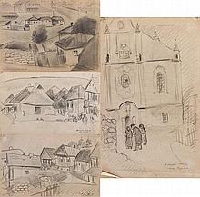 David Yakerson - Scenes from Rashkov Village - 4 Pencil Drawings