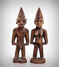 A Pair of Yoruba Ancestor Protection Figures,