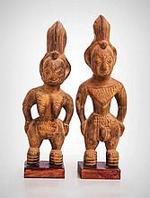 A Pair of Yoruba-Egba Male and Female Ancestor