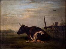 Attributed to Pieter Plas (1810-1853), A Cow in the Meadow