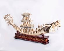 A Fine Monumental Carved Ivory Dragon Boat, China, First Half of the 20th Century