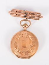 An Antique 14K Gold Twin Lidded Lapel Women's Watch