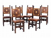 Satz von sechs Stühlen im Renaissancestil