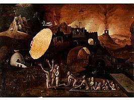 Pieter Huys, 1519 - 1584, zug./ Art des Flämischer Maler der Renaissance und des nördlichen Manierismus. Arbeitete in der Art des Hieronymus Bosch.