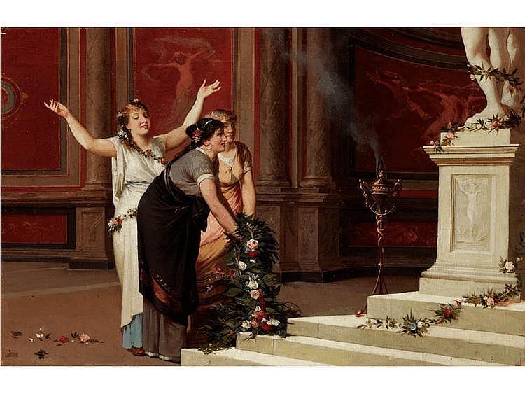 Amos Cassioli, 1832 Asciano - 1891 Florenz Schüler von Luigi Mussini, übersiedelte 1856 nach Rom, wo er bis 1860 blieb. Dort hatte er engeren Kontakt mit Romantikern wie auch dem Deutsch-Römer Overbeck oder dem Italiener Minardi. Ab 1860 in Florenz