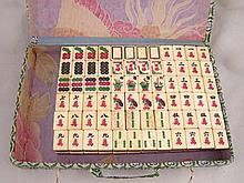 A Chinese Mah Jong set of 144 bone and bamboo