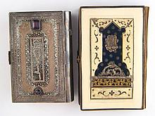 Judaica. A white metal, tests silver, cased prayer