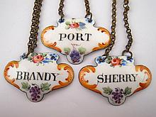 Three antique enamel wine labels for Port, Sherry