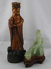 A gilt carved heavy hardwood Chinese figure of a