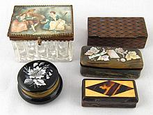 Five various boxes including a tartanware, a