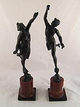 A pair of19th.c. bronze statues representing Diana