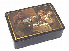 An ebonised and gilt lined composition box , the