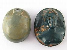 A carved hardstone cameo of a classical figure,