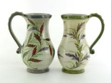 A pair of Glyn Colledge Denby ceramic vases, signed to base, approx 22cm high. CONDITION good, no chips or cracks.