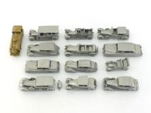 Twelve cast pewter models of Rolls Royce cars, all by Danbury Mint, and one gilt metal scale model of an 0-6-0 tank engine by Samhongsa.  CR All excellent condition.