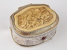 A Russian silver shaped rectangular box, the lid
