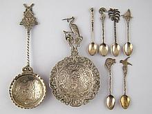 A set of six white metal teaspoons, marked 900,