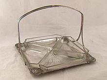 A square silver plated hors d'oeuvre dish with