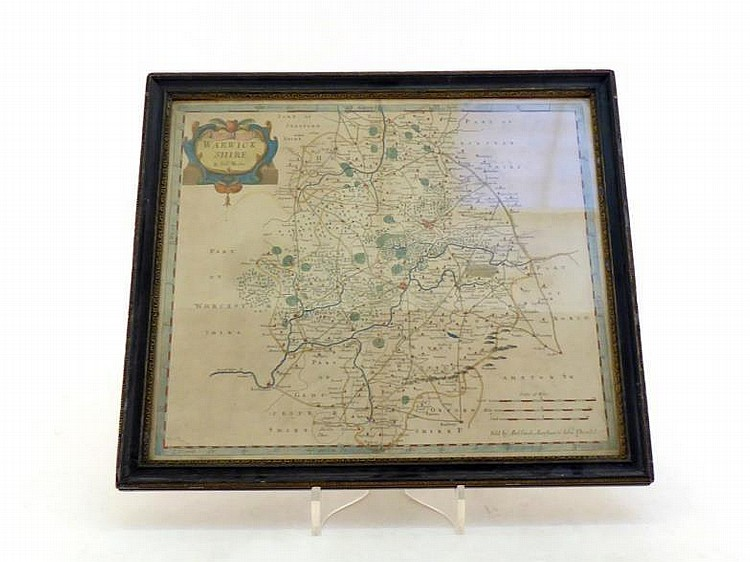 A Map of Warwickshire by Robert Morden, circa 1760 with contemporary colouring, 43x37cm. CR. Some dirt, water stain to bottom left corner.