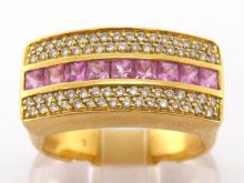A French 18 carat gold, pink sapphire and diamond ring, composed of a central row of calibre cut sapphires, pave set single cuts above and below, the shank with French poincon, finger size Q, 9.4gms