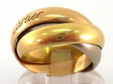Cartier, an 18 carat three colour gold 'Trinity' ring, signed and numbered '2824', finger size N/O, 16.2gms, in a Cartier box, with certificate dated 16.10.08