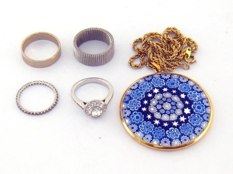 A mixed lot of quartz bead necklaces, together with a glass millefiori pendant, a Swarovski crystal cluster ring, and three other costume rings (7)