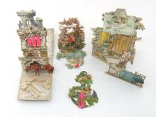 A collection of five 19th. century German stand up three dimensional Christmas cards.