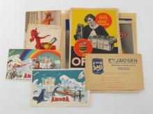 Nine vintage French advertising cards for oil, mustard, soap, cake-mix etc. and eight German examples, Fromms Gummi-Schwamme, Tenaer Glas and Schnellglanz Ofenol